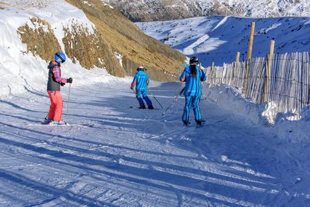 Grandvalira, Andorra: 2019 Janury 15: Ski lessons in Ski Station Grandvalira of Canillo, Andorra.