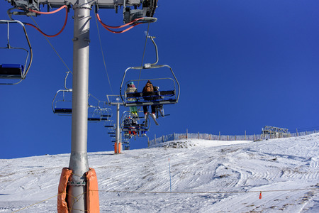 Chairlift in Ski Station Grandvalira of Canillo, Andorra. 写真素材