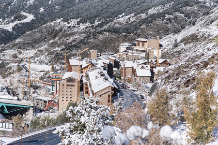 Beautiful landscape of Soldeu, Canillo, Andorra on an autumn morning in its first snowfall of the season.