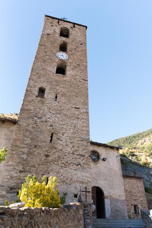 Church of Sant Serni in autumn in Canillo, Andorra.