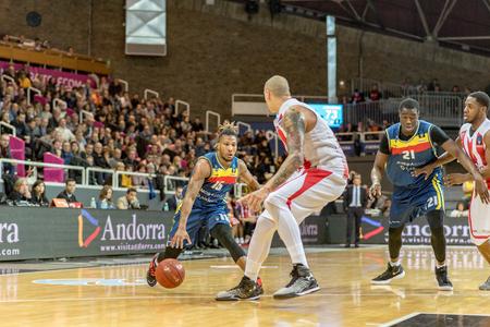 ANDORRA LA VELLA, ANDORRA - NOVEMBER 7 2018: EURO CUP J8 game between Morabanc Andorra BC and Crvena Zvezda MTS Belgrade.
