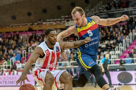 ANDORRA LA VELLA, ANDORRA - NOVEMBER 7 2018: EURO CUP J8 game between Morabanc Andorra BC and Crvena Zvezda MTS Belgrade. Editorial