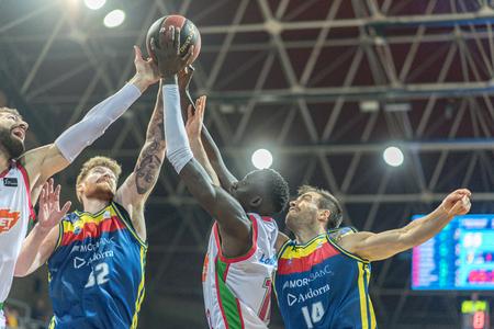ANDORRA LA VELLA, ANDORRA - NOVEMBER 7 2018: ACB Spanish League J8 game between Morabanc Andorra BC 93 -73 Baskonia.