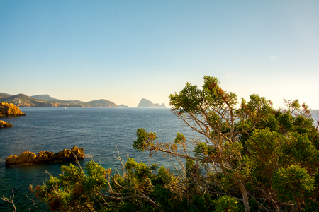 Beautiful Cala Comte Beach, Sant Antoni de Portmany, Ibiza, Balearic Islands, Spain. Imagens