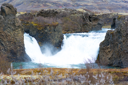 Summer landscape of Sigoldufoss waterfall at Fjallabak Nature Reserve in Central Highlands of Iceland.