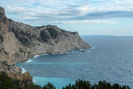 Ibiza, Spain - september 1 2019: Sa pedrera de Cala de Hort, Atlantis at late afternoon
