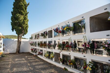 Old White Church of Santa Anges de la Corona, Ibiza, Spain. Banque d'images