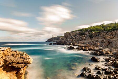 North coast of Ibiza island, Moscarter lighthouse as background, Spain