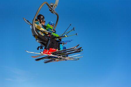 Grandvalira, Andorra : 2019 December 28 : People having fun in Sunny Day on Grandvalira Ski Station in Andorra. Editorial