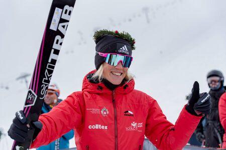 VALLNORD, ARINSAL, ANDORRA - JAUNARY 26, 2020: The Skieer KREUZER VICTORIA, DE SILVESTRO ALBA (ITA) AND GACHET MOLLARET AXELLE (FRAI) on VALLNORD . Individual COMAPEDROSA 2020 race ski mountaineering ISMF WORLD CUP 2020 Skier climbs on skis on VALLNORD