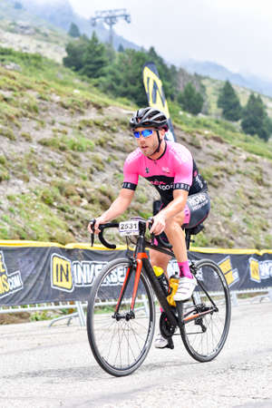 Els Cortals de Encamp, Andorra : Agust 6 2017 : Cyclists in La Purito 2017 in Andorra. Amateur race in Andorra.