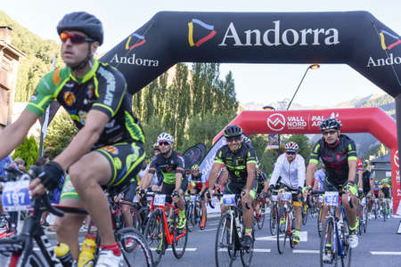 La Massana, Andorra : 2017 July 16 : Cyclists on the start in Volta Als Ports D Andorra 2017 in Andorra. Amateur race in Andorra.