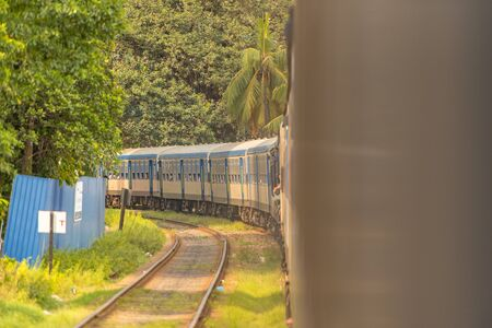 Images from the Interior of the second category train car in Sri Lanka from Colombo to Matara. Colombo, Sri Lanka.
