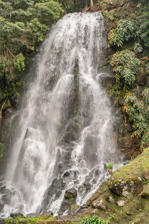 Ribeira dos Caldeiroes, system of waterfalls on Azores Banco de Imagens