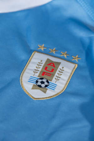 Canillo , Andorra - 9 abril 2020 - Logo of Uruguay football national team federation printed on shirt, AUF Asociacion Uruguaya de Futbol.