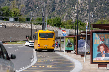 Andorra. Andorra La Vella. 29 April 2020. Bus station of Andorra la Vella in sunny day. Confinement by the COVID-19 virus, in the afternoon.