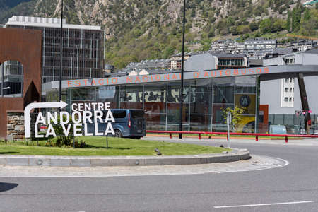 Andorra. Andorra La Vella. 29 April 2020. Bus station of Andorra la Vella in sunny day. Confinement by the COVID-19 virus, in the afternoon. Éditoriale