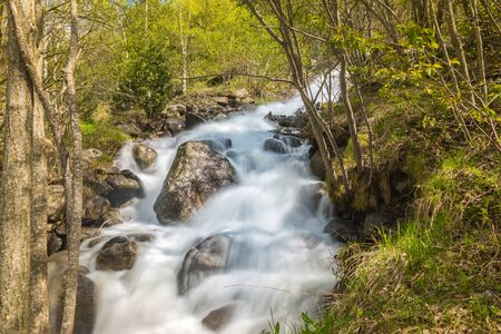 Waterfall in the Riu de la Bor in L Aldosa de Canillo in Andorra in spring Stock fotó