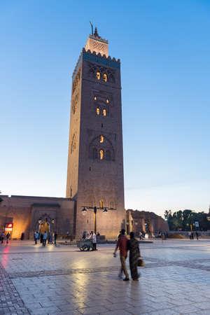 Koutubia mosque in Marakech. One of most popular landmarks of Morocco Redactioneel