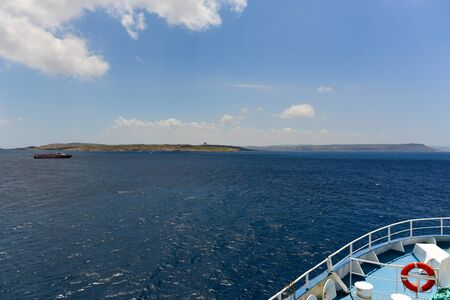Mgarr, Gozo / Malta - 05/11/2019: View of the harbour Mgarr from the ferryboat coming from Malta 版權商用圖片