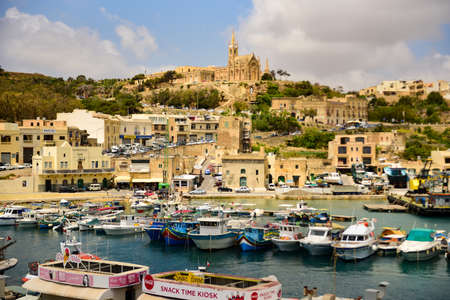 Mgarr, Gozo / Malta - 11/05/2019: View of the harbaour Mgarr from the ferryboat coming from Malta