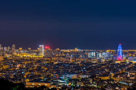 july 29 2020, BARCELONA, SPAIN: View of Barcelona city and costline in spring from the Bunkers in Carmel in the night.