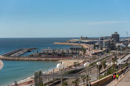 Tarragona, Spain: 2020 September 27: Views of the port of the city of Tarragona in summer in Spain.