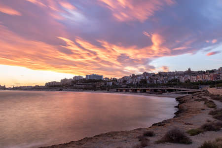 Beautiful sunny sunset in the city of Tarragona, in Catalonia, Spain in the summer of 2020.