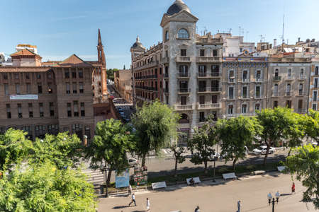Tarragona, Spain: 2020 September 27: Sunny day in Rambla Nueva street of Tarragona in Spain, in the summer of 2020.
