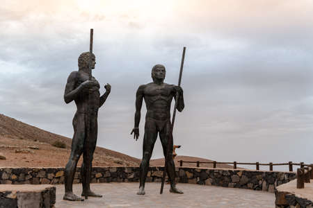 Betancuria, Fuerteventura, Spain: 2020 October 6: Rey Guise and Rey Ayose at the Mirador del Valle in Bentancuria on the island of Fuerteventura in Spain in summer.