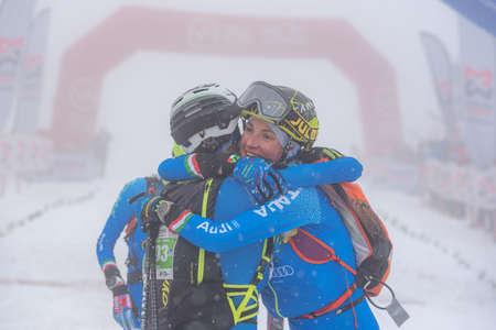 Arinsal, Andorra: 2021 March 6: DE SILVESTRO Alba ITA and MURADA Giulia ITA and MARTINI Mara ITA in ISMF WC Comapedrosa 2021 Andorra. Individual Race Woman ITA in ISMF WC Comapedrosa 2021 Andorra. Individual Race Woman