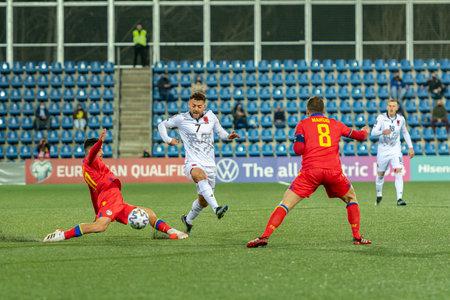 Andorra La Vella, Andorra: 2021 March 25: K. Bare ALB in the Qatar 2022 World Cup Qualifying match.