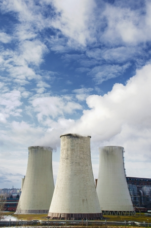 nuclear plant: Smoke coming out of the big chimneys