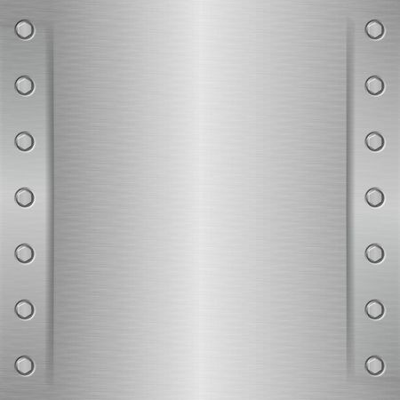Shiny metal plate - brushed aluminium effect with bolts on the sides Stock Photo - 1296846