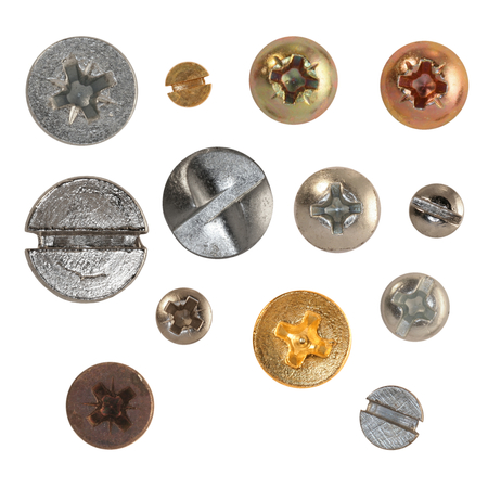 Thirteen isolated wood screws on white background - screw heads are very detailed!
