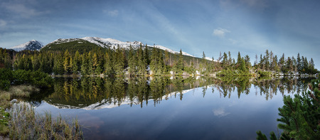 Reflections in the calm lake water with dramatic clouds with snow and mountains