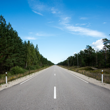 driving empty highway in summer in country