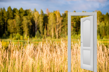 Nature scenes with doorway to a new world. easy to edit image. Stock Photo
