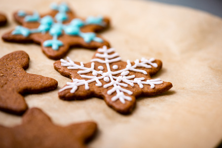 pastry cutters: Making Gingerbread Cookies Series.  Ready cookies on the plate. Stock Photo