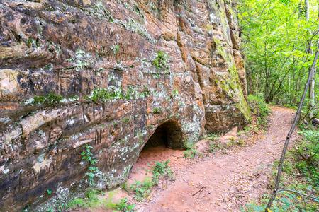 teutonic: sandstone cliffs with inscriptions near tourist trails