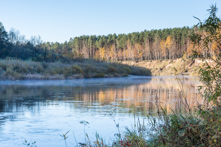 riverbank: scenic autumn colored river in country with trees and reflections