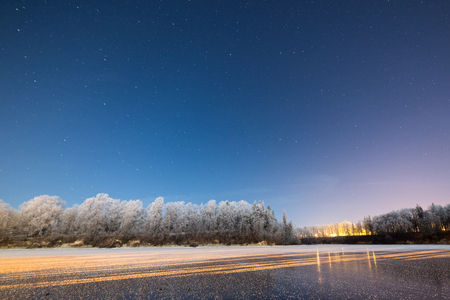 night sky with stars in the winter night with trees and frost Stock Photo