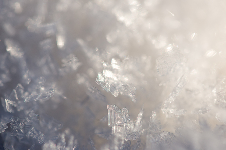 hoary: close-up frozen snowflakes abstract in winter Stock Photo