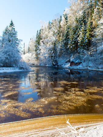snowy winter river landscape with snow covered trees and blue sky