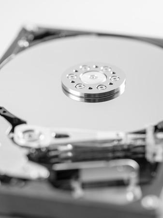 external hard disk drive: computer hard disk drive close-up shot. shallow depth of field. macro Stock Photo