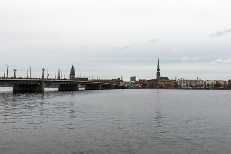 panoramic image of Riga shoreline with river Daugava and bridges, Riga, Latvia, april 15th 2015