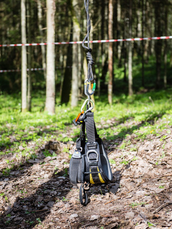 tree climbing equipment in forest with slacklines and mountings