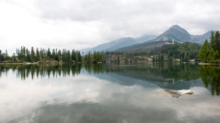 Reflections in the calm lake water with dramatic clouds