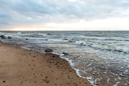 Storm large wave on the shore of the Baltic sea beach Stock Photo
