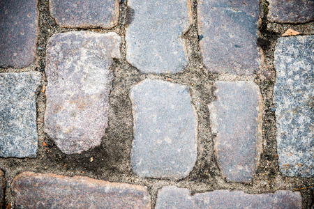 luxe: brick road fragment with straight lines and rocks
